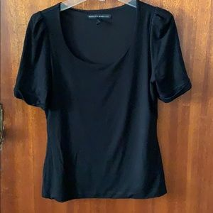 Wht House Blk Mkt, black shorts sleeve top, M